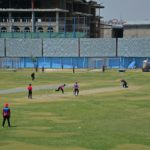 Afghanistan's national cricket team players attend a training session at the Kabul International Cricket Ground in Kabul on August 21, 2021, ahead of their one-day series against Pakistan, scheduled to take place in Sri Lanka in two weeks. (Photo by HOSHANG HASHIMI / AFP)