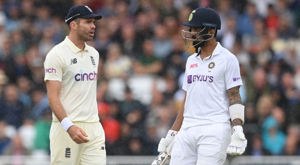 NOTTINGHAM, ENGLAND - AUGUST 06: James Anderson of England and KL Rahul of India speak during the third day of the 1st LV= Test match between England and India at Trent Bridge on August 06, 2021 in Nottingham, England. (Photo by Philip Brown/Popperfoto/Popperfoto via Getty Images)